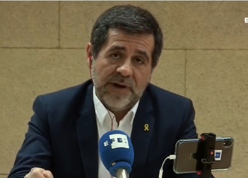 Screenshot of jailed leader Jordi Sànchez's press conference on April 18, 2019