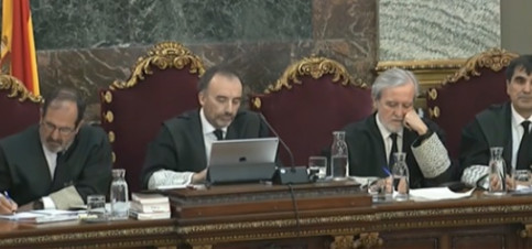 Supreme Court judges during the Catalan trial on March 21, 2019