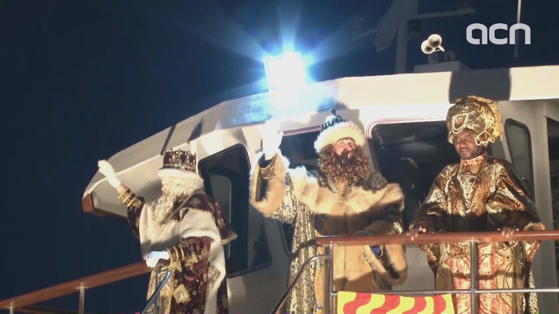 The Three Kings disembark full of presents for Catalan kids