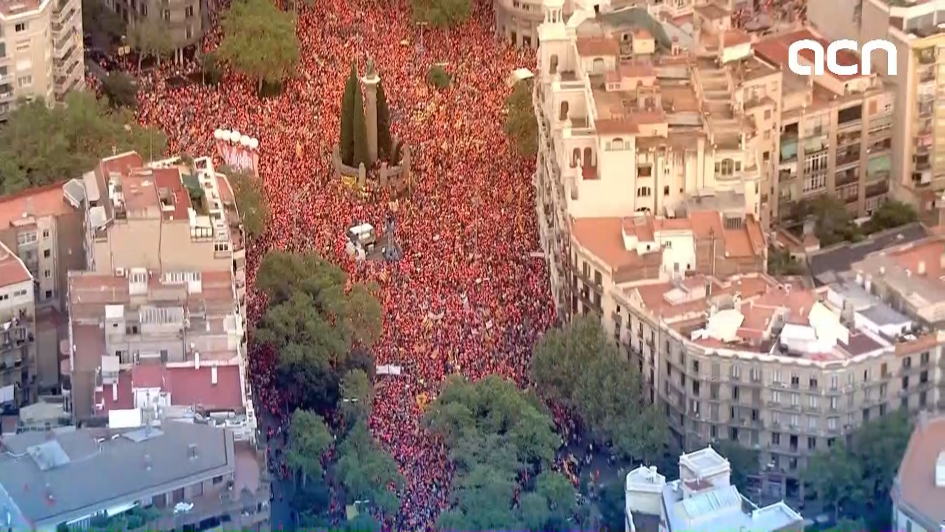 Aerial images of Barcelona's Diagonal Avenue filled with pro-independence protesters