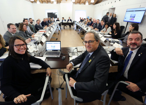 Laura Foraster (left), Quim Torra, and Alfred Bosch at the Diplocat plenary on December 17 2018 (photo courtesy of the Catalan government)