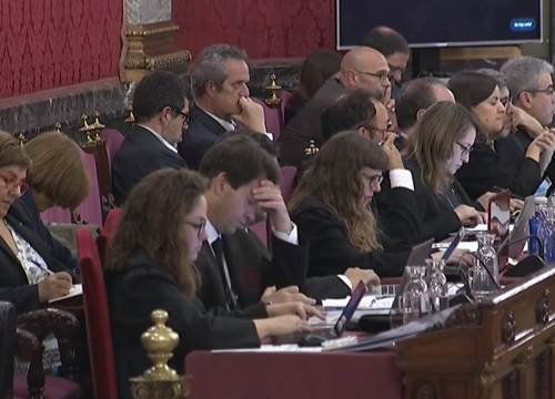 Defendants in the Catalan trial and their lawyers