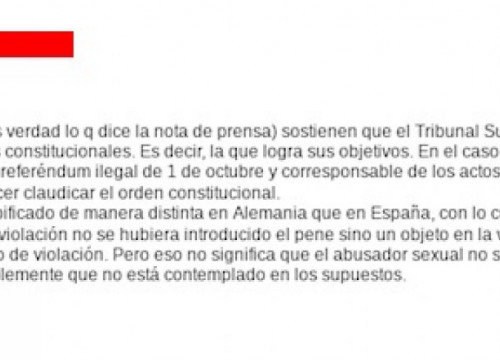 Leaked message from a Spanish judge (published by El Món)