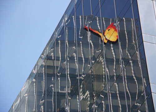 Gas Natural Fenosa's logo reflected on the company's headquarters (by R. Pagano)
