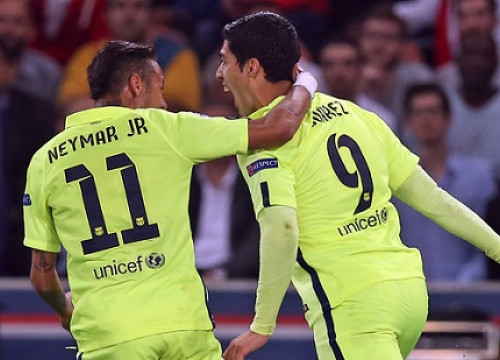 Luís Suárez and Neymar scored Barça's two goals against Paris Saint-Germain (by FC Barcelona)