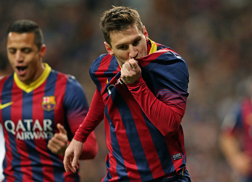 Leo Messi scored a hat trick at Real Madrid's Santiago Bernabeu stadium (by FC Barcelona)