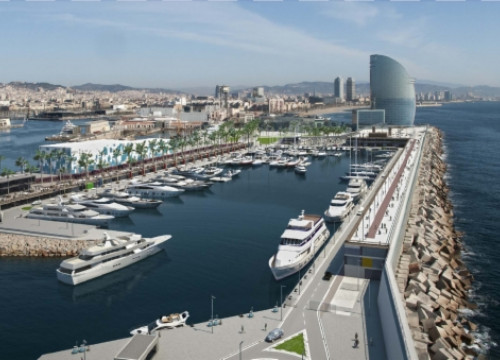 A virtual image of Barcelona's new marina, with the W Hotel tower in the background (by Formentera Mar / ACN)