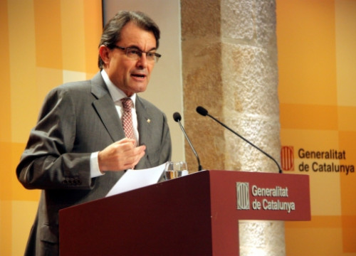 The President of the Catalan Executive, Artur Mas, at the press conference presenting the Government Plan 2013-2016 (P. Mateu)