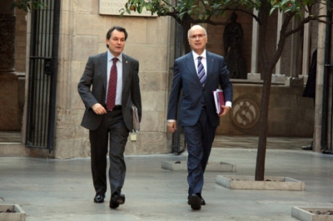 The Catalan President, Artur Mas (left), with the Government's man in Madrid, Josep Antoni Duran i Lleida (right) (by P. Mateos)