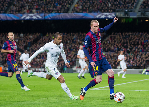 Jérémy Mathieu scored a goal against PSG in the first leg (by FC Barcelona)