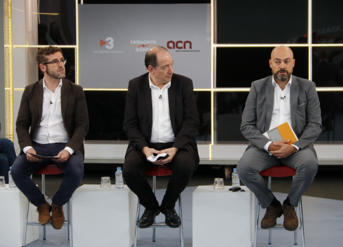 The director of the Catalan News Agency, TV3 and Catalunya Ràdio at the press conference (by ACN)