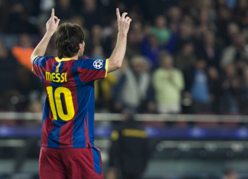 Leo Messi after scoring in Wednesday's match (by FC Barcelona)
