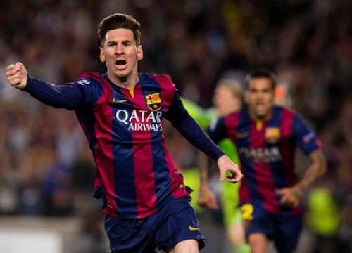 Leo Messi celebrates one of his two goals against Bayern Munich at the Champions League's semi-finals (by FC Barcelona)