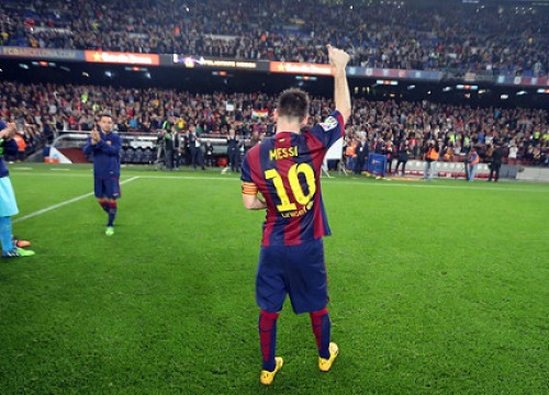Leo Messi celebrating his record as La Liga's all-time top scorer (by FC Barcelona)