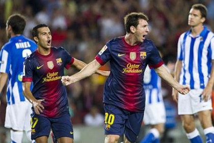 Messi and Pedro at the last League campaign's opening game against Real Sociedad (by FC Barcelona)
