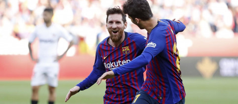 Lionel Messi's stunning hat-trick against his favourite opponent, and Luis Suarez's late goal secured the points for the Blaugrana who twice went behind at the Ramón Sánchez-Pizjuán (by FCB)