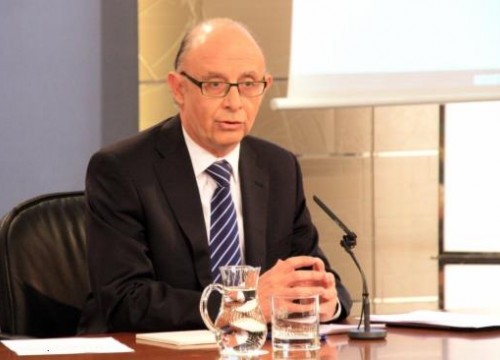 The Spanish Finance Minister, Cristóbal Montoro, on Friday's press conference (by X. Vallbona)