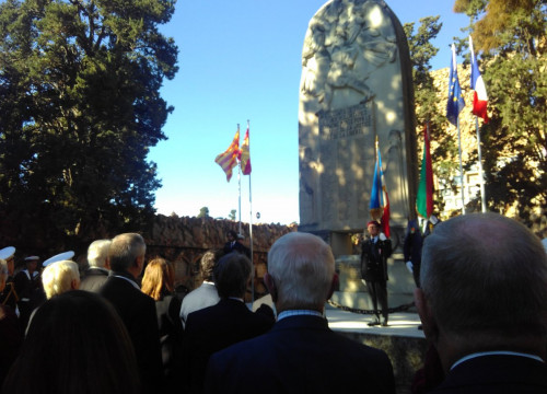 Image of the event held in Montjuïc cemetery, Barcelona, to mark the centenary of the end of World War I (by Stéphane Etcheverry, French consulate official)