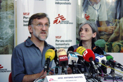 MSF Chairman, José Antonio Bastos, and MSF Operations Director, Raquel Ayora, this Tuesday in Barcelona (by M. Fernández)