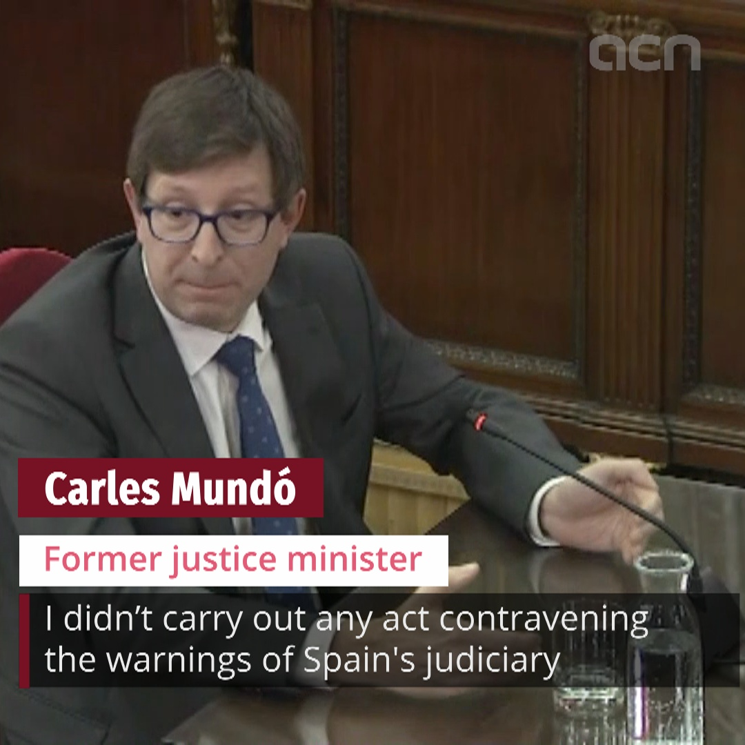 Carles Mundó gives his testimony in the Supreme Court on Wednesday