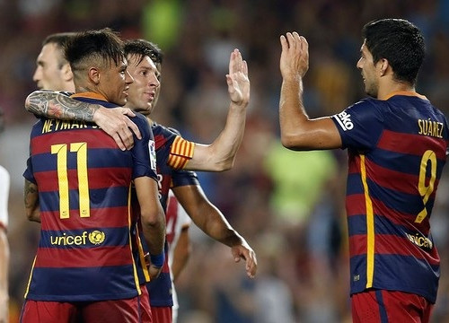 Neymar, Messi and Luís Suárez at the 2015 Joan Gamper Trophy game against AS Roma (by FC Barcelona)