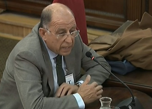 The head of Palamós port, Pedro Buil, testifying in the Catalan trial on March 6, 2019