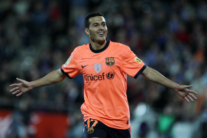Pedro celebrates his goal against Getafe (by FC Barcelona)