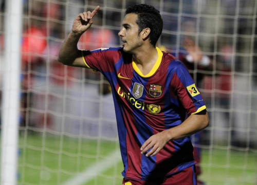 Pedro, after scoring his goal against the Ceuta (by FCB)