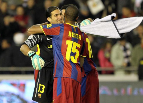 Pinto and Keita celebrate the victory against Valencia (by FC Barcelona)
