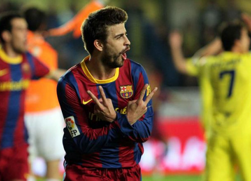 Piqué scored Barça's goal against Villareal, his second goal in this year's League (by FC Barcelona)