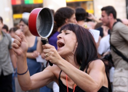 One of Thursday's protesters in Barcelona (by M. Puig)