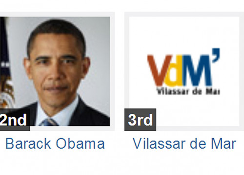 Vilassar de Mar's Twitter is currently in the 3rd position, just after Barack Obama's (by ACN / Shorty Awards)