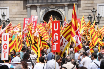A demonstration of public sector employees in front of the Catalan Government's palace in Barcelona (by ACN)