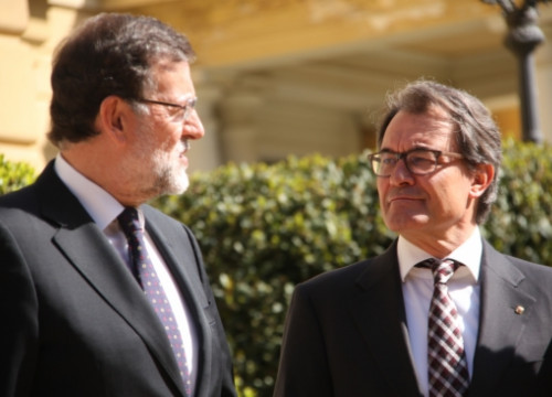The Spanish PM, Mariano Rajoy (left), and the Catalan President, Artur Mas (right), before the Euromed meeting's kick off (by R. Garrido)