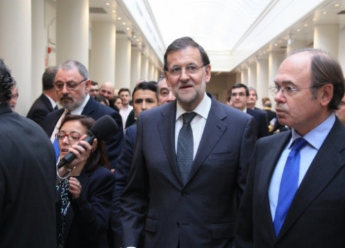 The Spanish PM, Mariano Rajoy, arriving at the Senate on Tuesday (by R. Pi de Cabanyes)