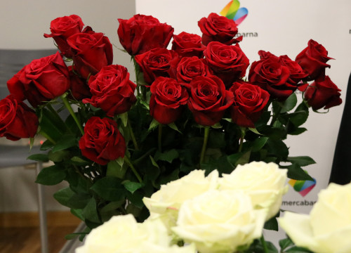 A bouquet of 'Freedom' red roses and white flowers on the foreground (by ACN)