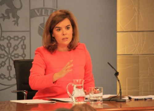 The Spanish Deputy PM, Soraya Saénz de Santamaría, announcing the appeal (by R. Pi de Cabanyes)