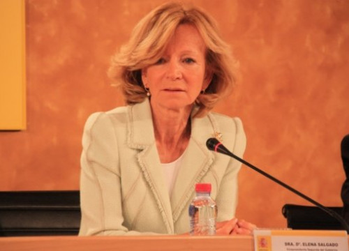 Spanish Vice President for Economy Elena Salgado this Tuesday at a press conference in Madrid (by R. Pi de Cabanyes)
