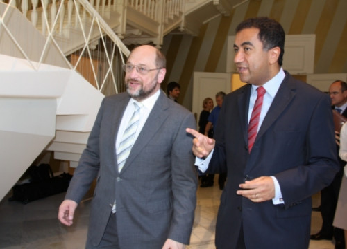 Schulz with Fathallah Sijilmassi, Union for the Mediterranean's Secretary General, whose headquarters are in Barcelona (by ACN)