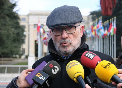 The Catalan Ombudsman speaks to the press after meeting UN the UN Deputy High Commissioner for Human Rights (by Laura Pous)