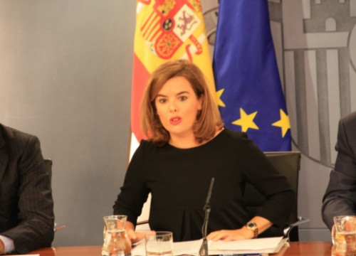 The Spanish Deputy PM, Soraya Saénz de Santamaría, on Friday, after the weekly Cabinet meeting (by R. Pi de Cabanyes)