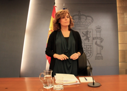 Spanish VP Soraya Sáenz de Santamaría before this Thursday's press conference (by La Moncloa / ACN)