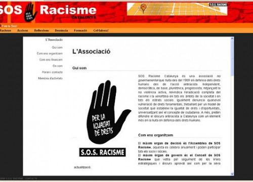SOS Racisme's website (by SOS Racisme / ACN)