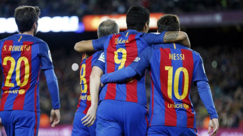Iniesta, Suárez and Messi celebrate as FC Barcelona score against Athletic Club (by FCB)