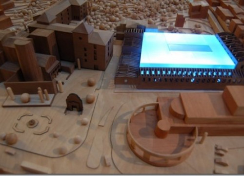 The new Thyssen Museum to be built new to the old Abbot's Palace, the monastery and a theatre (by Ajuntament de St. Feliu de G.)
