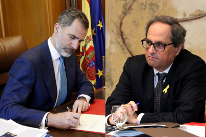 Spanish king Felipe VI (left) and Catalan president Quim Torra (Images by ACN and Casa Real)