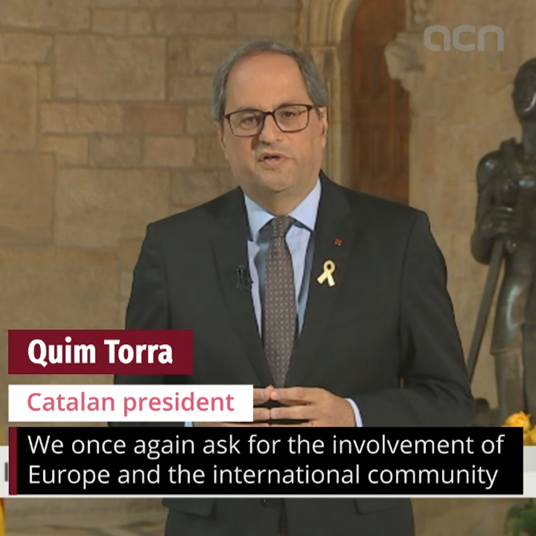 President calls for involvement of Europe in Catalan conflict on Sant Jordi day