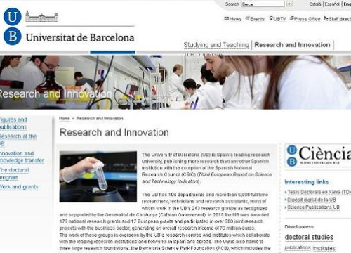 The website of the Universitat de Barcelona, which is Spain's top research university (by UB / ACN)