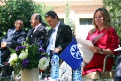 A small flag of the UfM in the ceremony where the organisation's new Secretary General Youssef Amrani took office (R. Garrido)