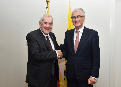 The Catalan foreign minister, Ernest Maragall, with the Flemish minister-president, Geert Bourgeois, in Brussels on October 19, 2018 (by Catalan government)